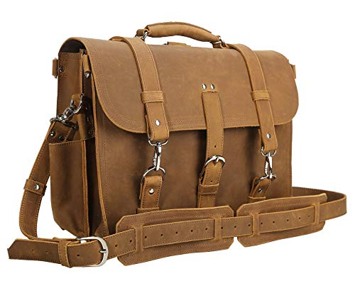Polare Men's Full Grain Leather 16'' Laptop Briefcase Shoulder Messenger Bag