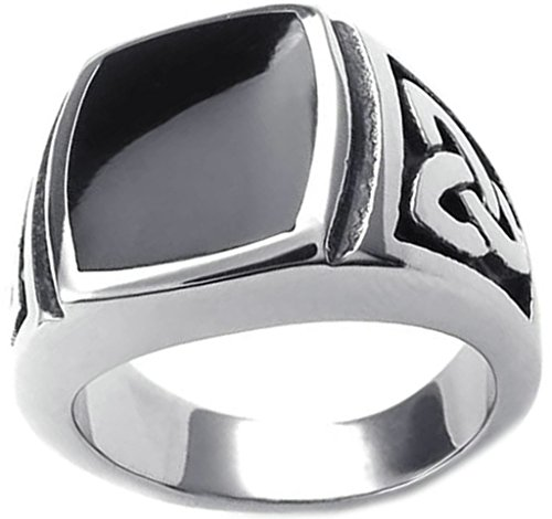 Gnzoe Jewelry Mens Stainless Steel Ring Bands Big Square Black Cubic Zirconia Celtic Pattern Size 10