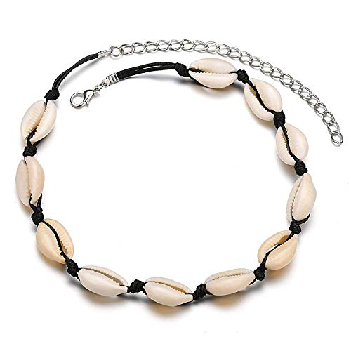 Strand Black Cord Necklace - Konpicca Natural Shell Choker Handmade Rope Pearl Hawaii Beach Necklace Jewelry for Women Girls