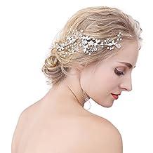 Snowskite Women's Silver Rhinestone Crystal Hair Band Hair Comb for Wedding Bridal Party