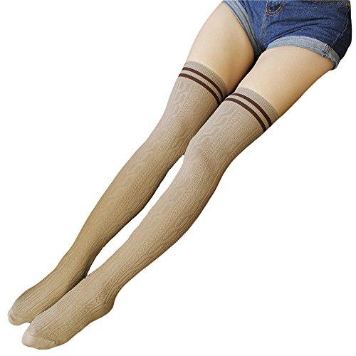 Zando Women Two Stripe Super Cute Breathable Sexy Thigh Over the Knee High Socks Khaki (Adult Cheer Bear Dress)