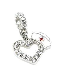 Sterling Silver Love Heart Nurse Cap Clear Crystal RN Red Cross Bead F/ Pandora European Charm Bracelets