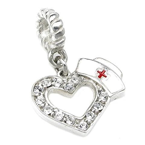 Queenberry Sterling Silver Cubic Zirconia RN Nurse Cap European Dangle Heart Bead Charm - Live Love Laugh Bracciale
