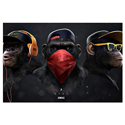 dayanzai Large Animal Picture Canvas Printed Painting Modern Funny Thinking Monkey with Headphone Wall Art Poster for Living Room Decor 60X90Cm,No Frame