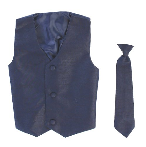 Vest and Clip On Baby Boy Necktie set - NAVY BLUE - 2T/3T