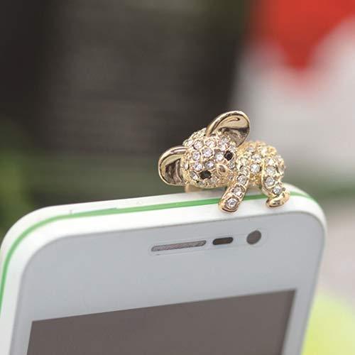 Connoworld 1 Pair 3.5mm Universal Cell Phone Dust Plug Cute Koala Headphone Jack Stopper Gold