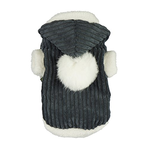 Fitwarm Pet Clothes for Dog Harness with D-ring Hooded Coat Winter Jackets Fur Pom Pom Grey XS (D-ring Harness Cat)