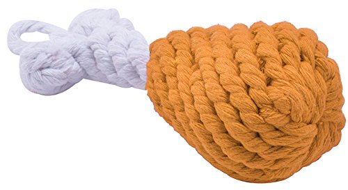Toy Dog Toys for Chewing Tugging and Playing with Cotton Rope Dog Chew Chicken Leg Orange (Rope Playing)