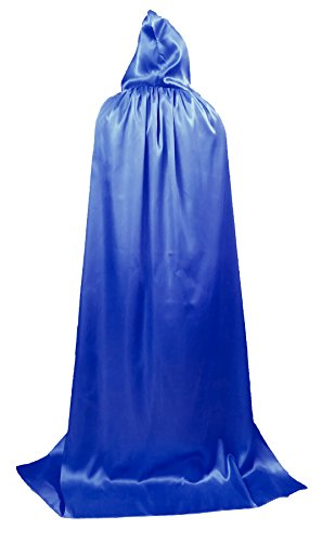 Beautifulfashionlife Unisex Hooded Cloak Role Halloween Cape Play Costume Full Length Blue 170cm -