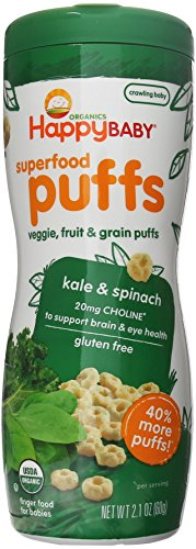 Happy Baby Organic Superfood Puffs, Kale & Spinach, 2.1 Ounce (Pack of 6)