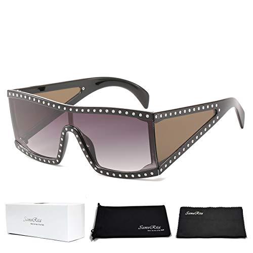SamuRita High Fashion Square Celebrity Shield Rhinestone Sunglasses for Women Men(Gradient Black ()