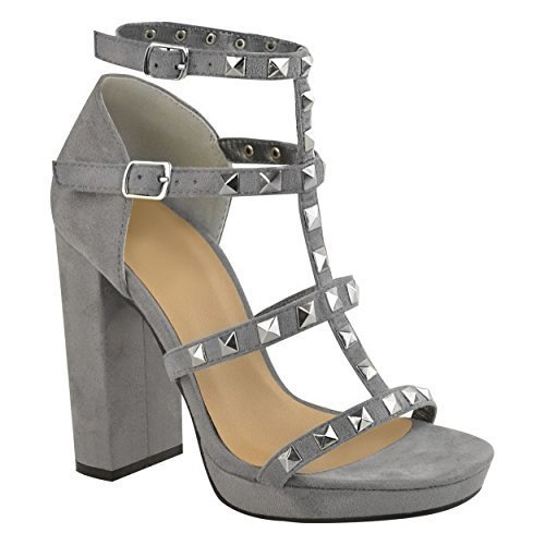 Image Plataforma Tamaño tobillo Reino para alto de gris Sandalias tiras Correa Srta Damas del con tacón Tachonado Unido Zapatos de mujer gamuza dwY4UZ