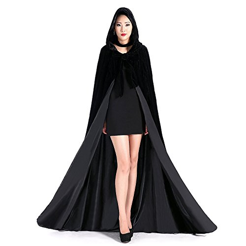 Newdeve Black Halloween Hooded Cloaks Medieval Cape Robe Costume Cosplay (XX-Large, -