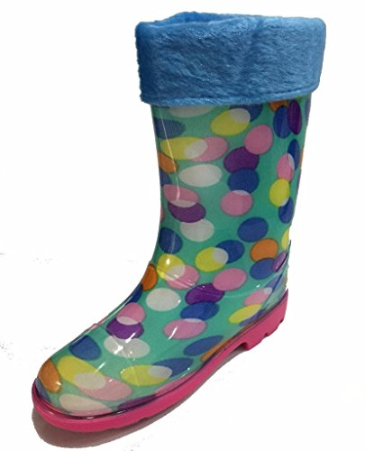 Little Girls Youth Rainbow Polka Dot Rain Snow Boot w/Great Lining, Comfortable (3)