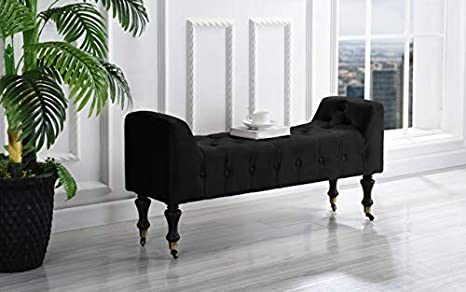 Remarkable Divano Roma Vanity Bench Stool Footrest Tufted Microfiber Fabric Ottoman Small Rectangular Bed Foot Bench Ottomans With Casters Black Short Links Chair Design For Home Short Linksinfo