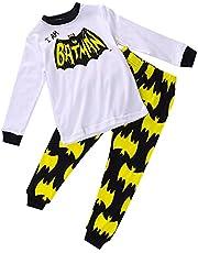 2Pcs Nightwear Clothes Baby Boy Cartoon Spiderman Round Neck Top + Pants Pajamas Outfit