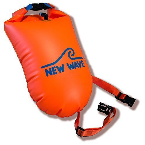 New Wave Swim Buoy for Open Water Swimmers and Triathletes - Light and Visible Float for Safe Training and Racing (Orange TPU Large-20L)