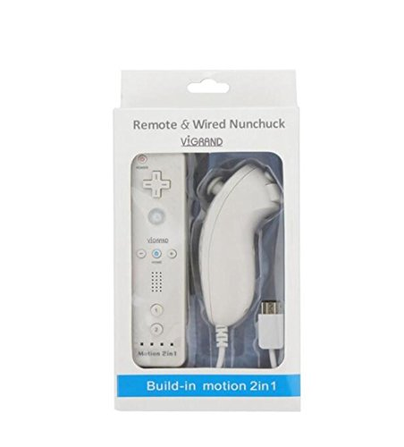White Built-in Motion Plus Wii Remote + Nunchuck