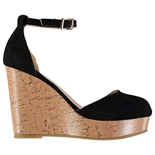 Full Circle Mujer Tobillo Correa Plataforma Zapatos Señoras Zapatillas Casual Negro 6 (39)