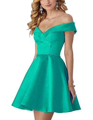 HelloLadyBridal Womens Off The Shoulder Homecoming Dresses Beaded Satin Prom Dresses Cocktail Gown Turquoise 14