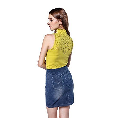 Signora Corpetto Maglia Senza Giallo T Shirt Maniche Top Maglietta Disbest Pizzo Per Donna In Canotta BxXpHAqI