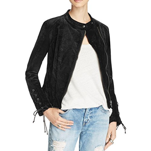 Free People Womens Velvet Lace Up Jacket Black L