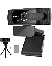 Webcam with Microphone, 1080P HD Webcam with Privacy Cover, Streaming Computer Web Camera, USB Desktop Laptop Web Camera with Auto Light Correction, Plug and Play, for Windows Mac OS