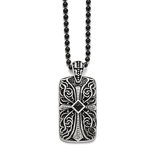 Chisel Stainless Steel Black Agate Dog Tag Pendant Necklace - 30 Inch ()