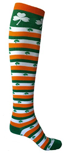 SoRock Women's St. Patricks Day Irish Striped Knee Socks,St Patrick's Day clothing, holiday, style, Irish, fashion, socks