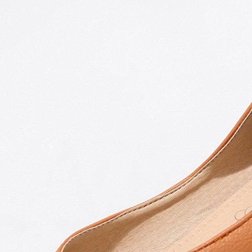 AalarDom Femme Tire à Talon Bas PU Cuir Fermeture d'orteil Chaussures Légeres Brun Clair bk4RA5hX6T