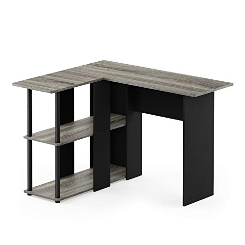 Furinno 17092GYW/BK Abbott L-Shape Desk with Bookshelf, French Oak Grey/Black