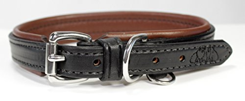 2 Red Dogs 22 - Black/Medium Brown Genuine Leather Dog Collar with Soft Pebble Leather Lining by, Made in USA Beautiful Padded Harness Luxury Dog Collar, Fits 19-21 Dog Neck