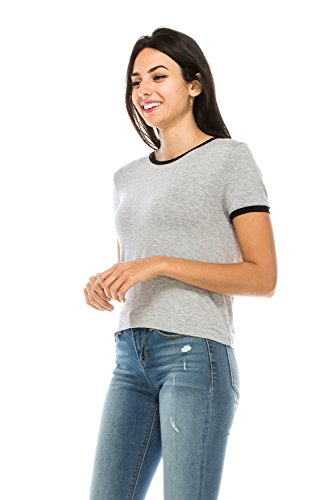 The Classic Junior Women Slim Fit Summer Basic Lightweight Comfy Ringer tee t Shirt (Small, GreyBlack) ()