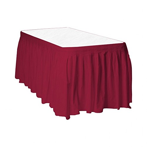 (3 Burgundy Plastic Table Skirts 29 in X 13 Ft Stretches to 19ft)