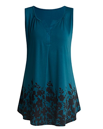 ABYOXI Womens Sleeveless Tops,Henley V Neck Drape Front Slim Fitted Plain Loose T-Shirt Summer Tank Top Blouse Deep Cyan M by ABYOXI