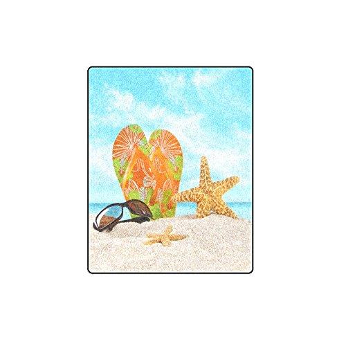 Valentine's Day Gifts Sunglasses Flip Flops Starfish On Beach Design Warmer Winter Fleece Throw Plush Blanket 40 x 50 inches - Sunglasses Mink