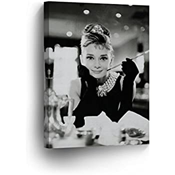 55dbff3186 Audrey Hepburn Breakfast at Tiffany`s Canvas Print Decorative Art Modern  Wall Décor Artwork Wrapped Wood Stretcher Bars - Ready to Hang -%100  Handmade in ...