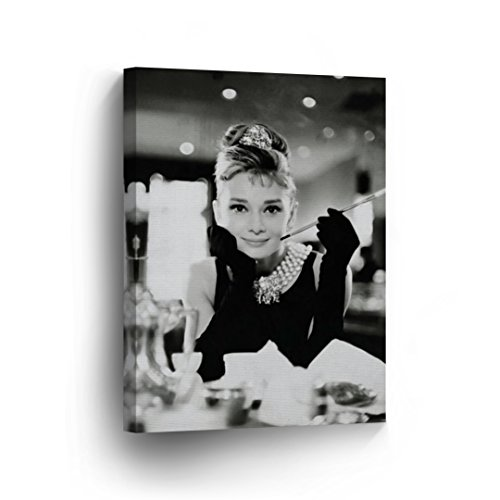 Audrey Hepburn Breakfast at Tiffany`s Canvas Print Decorative Art Modern Wall Décor Artwork Wrapped Wood Stretcher Bars - Ready to Hang -%100 Handmade in the USA -AHV9-12x8
