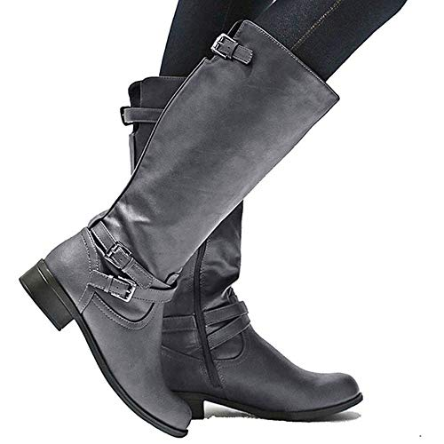 Strap High Boots Calf Dellytop Riding X Gray Womens Side Block Shoes Heel Wide Buckle Zip qHWw1pg