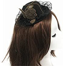 Steampunk Victorian Gears Mini Top Hat Costume Hair Accessory With Steam Punk Gear Glasses (hat)