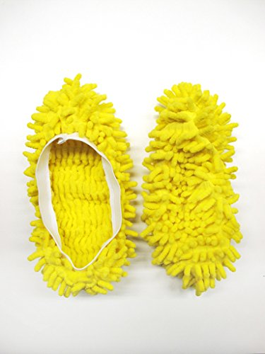 YELLOW MICROFIBRE DUSTER SLIPPERS MOP DUST CLOTH CLEANING FLOOR POLISHERS
