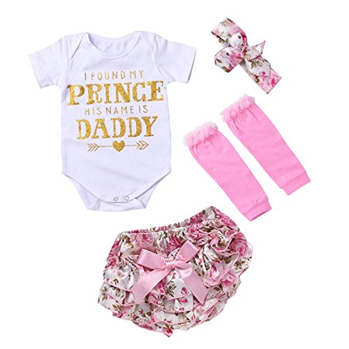 Infant Baby Outfits Clothes, Baby Girl Short Sleeve+Floral Knickers+Headband+Leg Warmers (Size : 0-3M)