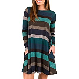 Women's Long Sleeve Striped Tunic  Casual Swing Dress With Pockets