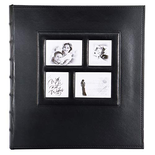 Photo Picutre Album 4x6 500 Photos, Extra Large Capacity Leather Cover Wedding Family Photo Albums Holds 500 Horizontal and Vertical 4x6 Photos with Black Pages (Black)