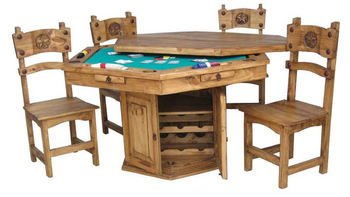 Rustic Solid Wood Hidden Game Table Set - Poker Table by R&R