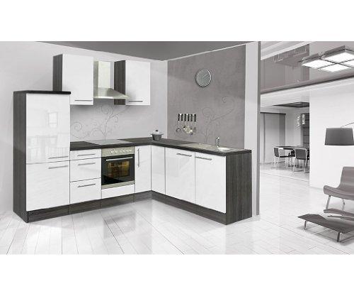 respekta Küchenleerblock Premium L-Küche 260 x 200 cm Eiche grau Nachbildung Weiß Hochglanz