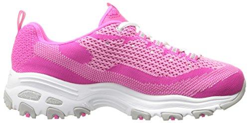 Skechers Sport Damen D'Lites Memory Foam Schnür Sneaker Pink Strick