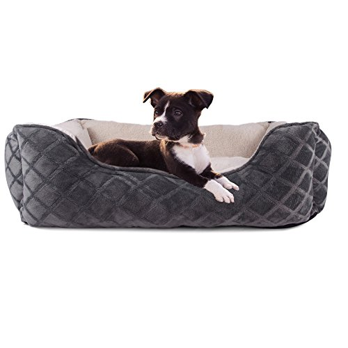 Cozy Cuddlerz C-03BL DARK GREY Diamond Deluxe Pet Bed, 28″ x 23″ x 8″, Dark Grey