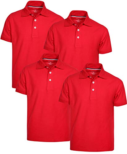 French Toast Boys Short Sleeve Uniform Polo Shirt - 4 Pack, Red, Size Large' ()