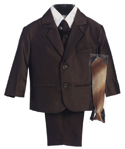 - Boy's 2-Button Herringbone Suit with Vest and 2 Ties - Brown L (12 - 18 Months)
